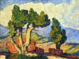 "Birger Sandzen [1871-1954] ""Colorado Cedars"" 18 x 24 inches, oil on canvas!"